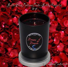 Matte Black container Candle with Matte Silver lid.  All natural Veggie Wax.  Tons of fragrances as well as fragrance free.  BlueMoonCandles.com Candles! #candles #black #blackcandles #Luxurycandles $15.95