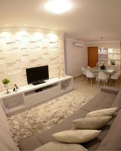 43 Amazing TV Wall Decor Ideas for Living Room Small Living Rooms, Home Living Room, Living Room Designs, Living Room Decor, Small Apartments, Small Spaces, Tv Wanddekor, Tv Wall Decor, Style At Home