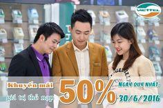Khuyến mãi 50% nạp thẻ Viettel ngày 30/6/2016
