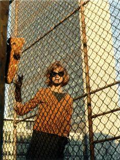 Jean Shrimpton. Behind the fence.