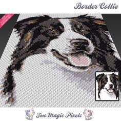 Border Collie crochet blanket pattern; knitting, cross stitch graph; pdf download; written counts, C2C row-by-row instructions included by TwoMagicPixels, $4.74 USD