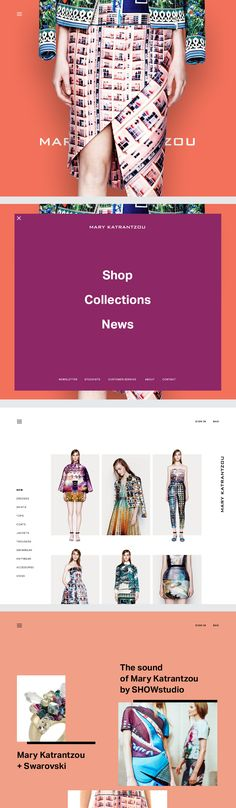 Mary Katrantzou - For a more colorful design, this ecommerce website features eye-catching pops of color that can really help to draw shoppers' eyes to the products. Web Design Mobile, Web Ui Design, Email Design, Tool Design, Page Design, Graphic Design, Website Layout, Web Layout, Layout Design