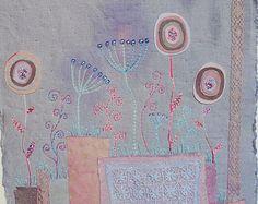 Broderie Textile Art Wall Hanging « Summer soirée - » teints naturellement textil, main cadeau art de broderie murale unique