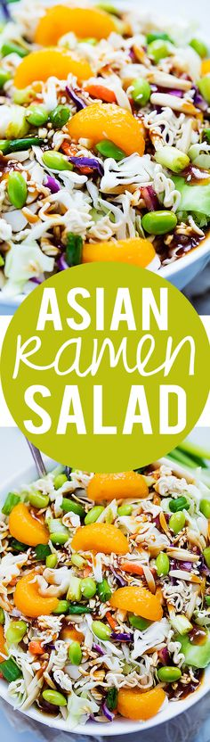 Asian Ramen Noodle Salad with the BEST teriyaki dressing!  | Creme de la Crumb