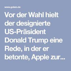 """Vor der Wahl hielt der designierte US-Präsident Donald Trump eine Rede, in der er betonte, Apple zur Produktion in den USA bringen zu wollen. Er sagte an einer Uni im US-Bundesstaat Virginia: """"Wir werden Apple dazu bringen, ihre verdammten Rechner und sonstigen Sachen in diesem Land statt in einem anderen Land zu produzieren"""" und drohte zur Durchsetzung dieser Forderung mit einer Importsteuer von 45 Prozent auf Waren aus China. Das hätte nicht nur für Apple gravierende Folgen, sondern für…"""