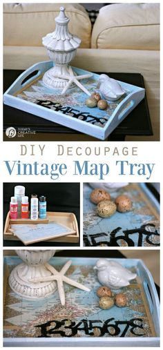 Decoupage How To : Step by Step tutorial on how to decoupage using mod podge. Make this vintage map serving tray for an easy DIY craft idea. TodaysCreativeLife.com