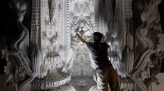 "Architects Michael Hansmeyer and Benjamin Dillenburger have pulled off a three-dimensional printing feat to rival them all. As part of the project ""Digital Grotesque,"" the duo 3D printed an entire room, creating a 16-square-meter cube adorned with unbelievable ornamentation that looks like it belongs in a futuristic cathedral."