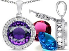 Switch-It Gems(tm) Interchangeable Simulated Amethyst Pendant Set with 12 Round 12mm Birthstones Included in 925 Sterling Silver Switch-It Gems. $215.99. 12 Simulated interchangeable Birthstones Included. All original Switch-it gems products come with a free limited Lifetime Warranty.. Guaranteed Authentic from the Switch It Gems designer line. Switch-It Gem(tm) Designs are protected by US Copyright and Patent Laws. Free Chain in a matching metal will be included