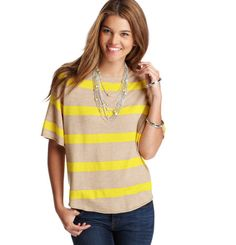 Loft - LOFT Sweaters - Striped Jewel Neck Short Sleeve Poncho Sweater
