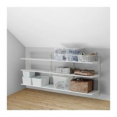 IKEA - ALGOT, Wall upright/shelves, The parts in the ALGOT series can be combined in many different ways and easily adapted to your needs and space.Since you only need to click in the brackets, shelves and accessories, it is easy to assemble, adjust and change your storage solution.Can be used anywhere in your home, even in damp areas like the bathroom and under covered balconies.Can also be used in bathrooms and other damp indoor areas.You click the brackets into the ALGOT wall uprights…