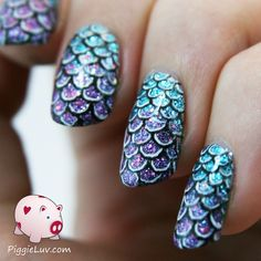 I made these mermaid /slash/ fish scale nails the other day, using my brand new pretty Pure Color no. 10 nail art brush! I think they look very cool and 3D, almost like you could feel the scaly texture if you touched them... http://scottsdalehandandfootspa.com