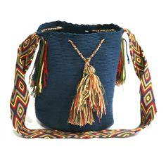 Bolso Mochila Wayuu Azul Petróleo