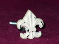 "French shabby cottage chic white metal ""Fleur de lis"" knobs"