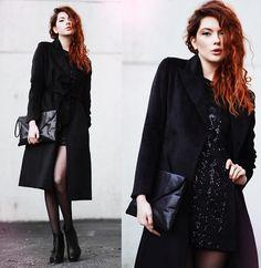 Sheinside Coat, Motel Rocks Diamond Sequin Dress, Vagabond Boots, 2hand Clutch