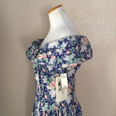 NWT-Vtg-Gunne-Sax-Jessica-McClintock-Navy-Pink-Tea-Dress-Off-Shoulder-Floral-13