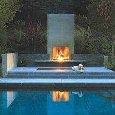 Contemporary Outdoor Fireplace Design Basic 3 On Living Room Simple Home Design Modern Outdoor Fireplace, Outdoor Fireplace Designs, Backyard Fireplace, Outdoor Stone, Outdoor Spa, Outdoor Rooms, Outdoor Living, Outdoor Decor, Outdoor Fireplaces