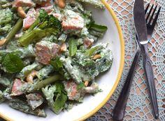 Zoete aardappelsalade met sperzieboontjes