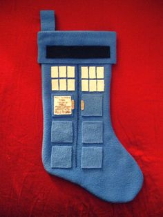 """Tardis stocking... I sure hope it's bigger on the inside..."" I should make this for a Whovian in my life."