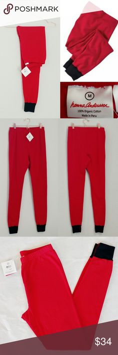 "HANNA ANDERSSON M Adult Red Pajama Bottoms Super cute red with black trim long-john pajama bottoms.  New with tags, these ""unisex sizing"" adult medium bottoms fit like their kid's sizes would if they went up to 190.   100% organic cotton.  Perfect for a great night's sleep or lounging around over the weekend, these wear-like-iron pajamas are the classics. Hanna Andersson Intimates & Sleepwear Pajamas"