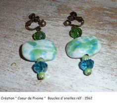 Boucles d'oreilles vertes turquoises