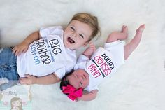 Sibling Shirt - Big Brother - Little Sister - Sibling Set - Personalized - Boy Girl Embroidered Shirts - Bodysuit - Newborn - ANY COLOR Sibling Photos, Newborn Pictures, Baby Pictures, Baby Photos, Family Photos, Little Sister Pictures, Big Brother Little Sister, Little Sisters, Sister Poses