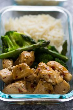 Honey Sesame Chicken Lunch Bowls, an easy healthy meal prep work lunch recipe