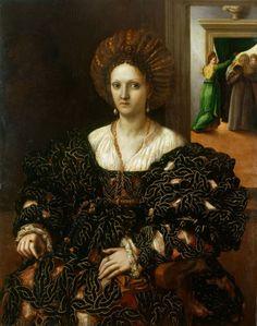 Portrait of Margherita Paleologo  Creator: Giulio Romano (Rome c. 1499-Mantua 1546) (artist)  Creation Date: c.1531  Materials: Oil on panel  Dimensions: 115.5 x 90.0 cm