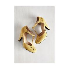 Pinup The Zest Is History Heel ($45) ❤ liked on Polyvore featuring shoes, pumps, heels, t-strap heel, yellow, yellow shoes, yellow pumps, heels & pumps, cut out pumps and cutout shoes