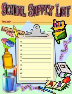 School Supply List - Instant Download by theNEATfreak on Etsy, $2.00