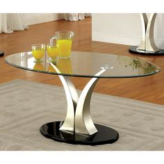 Furniture of America Velma Modern Satin Plated Coffee Table - Overstock Shopping - Great Deals on Furniture of America Coffee, Sofa & End Tables Modern Coffee Tables, Table, Cool Coffee Tables, Pedestal Coffee Table, Coffee And End Tables, Furniture Of America, Contemporary Coffee Table, Glass Top Coffee Table, Furniture