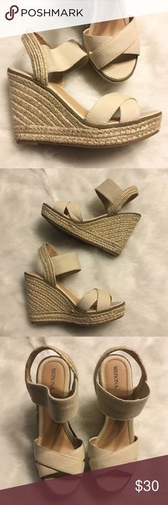 Merona Espadrille Sandals Buffy Like new - only worn once! Platform sandal with breezy cotton canvas uppers and stretchy pull-on strap with cushy 4.5 wedge heel. *Did find them to run a tiny bit small, so could also fit a size 7.  Happy Poshing! (x trade) Merona Shoes Wedges