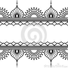 Seamles Border Pattern Elements With Flowers And Lace Lines In Indian Mehndi Style Isolated On White Background. Stock Vector – Illustration of lines, ethnic: 69419586 – Henna 2020 Henna Tattoo Designs, Tatoo Henna, White Henna Tattoo, Dotwork Tattoo Mandala, Henna Art, Hand Henna, Mehndi Designs, Henna Mehndi, Indian Henna Designs