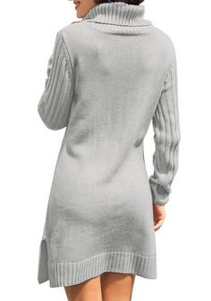 Be so pretty even when it's windy as you wear this grey turtleneck cable knit side slit pullover sweater dress with your light makeup and heeled booties. Grey Turtleneck, Long Sleeve Turtleneck, Tunic Sweater, Pullover Sweaters, Bra Sizes, Cable Knit, Turtle Neck, Knitting, Store