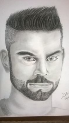Realistic pencil sketch of Virat Kolhi by Dalmi Bindra. A small tribute for great performance in 20-20 world cup 2016. charcoal drawing, drawing, pencil, Sketch, Drawing, pencil art, art, pencil drawing, sketching
