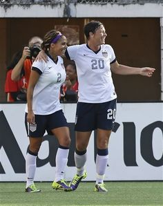 f30f69eeb9 Sydney Leroux celebrates with Abby Wambach after one of Leroux s two goals  against Brazil