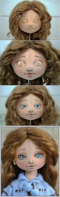 Как сделать самые красивые глазки для текстильной куколки. Коллекционный вариант!.