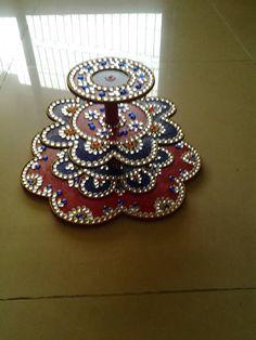 acrylic diya stand Thali Decoration Ideas, Diy Diwali Decorations, Festival Decorations, Flower Decorations, Diya Rangoli, Diwali Diya, Diwali Craft, Diya Designs, Rangoli Designs