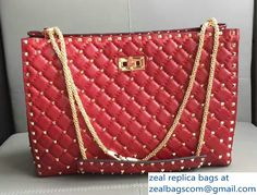 Valentino Rhombus Rockstud Spike Shopping Shoulder Bag Red 2017