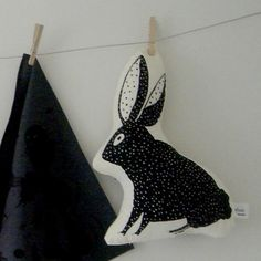 Black Spotted Bunny Pillow