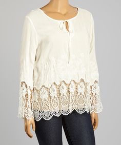 Another great find on #zulily! Simply Irresistible Natural Crochet-Trim Tie-Neck Top - Plus by Simply Irresistible #zulilyfinds