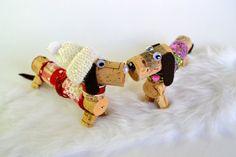 Dachshund Dog in Winter Wine Cork Puppy by DiVineWineCorks on Etsy