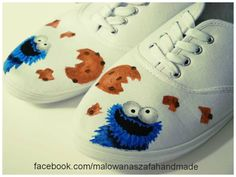 hand-painted sneakers with Cookie Monster  facebook.com/malowanaszafahandmade
