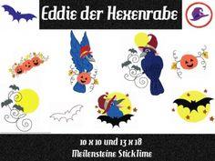 Meilensteine StickTime - Eddie der Hexenrabe Stickdatei 10 x 10 und 13 x 18