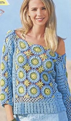 Sky Blue 3/4 Sleeve Top with Round Motif free crochet graph pattern