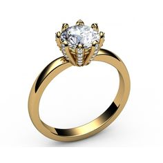 8-prongs Classic Diamond Solitaire Engagement Ring in 18K Yellow gold (1.18 ct. tw.) - Solitaire Diamond Rings