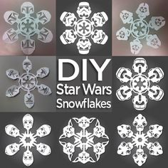 Seasonal AND Star Wars! How to: Make Star Wars Snowflakes (Free Templates Included) Star Wars Snowflakes, Paper Snowflakes, Snowflake Craft, Snowflake Pattern, Natal Star Wars, Winter Christmas, Christmas Holidays, Xmas, Decoration Star Wars