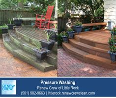 http://littlerock.renewcrewclean.com/pressure-cleaning – When your deck looks this bad, many people would assume that it is beyond pressure washing as a solution and may consider replacing it. Before you replace any outdoor wooden decks or fences, contact Renew Crew of Little Rock to find out if it can be cleaned. This amazing before and after shot shows a nasty, algae-covered deck fully restored using our 3-step process.