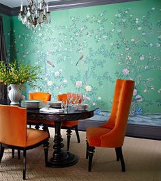 de Gournay: 'Earlham' design in standard design colours on Emerald Green dyed silk.