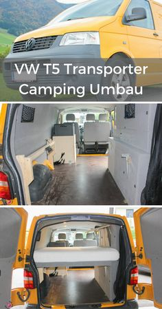 Find out step by step how you can use your VW transporter to go camping . - Find out step by step how you can convert your VW transporter into a camper. Do it yourself Infor - Vw T5, Transporteur T5, T5 Bus, Vw Camper Bus, Camper Van Life, Auto Camping, Trailers Camping, Minivan Camping, Camping Hacks
