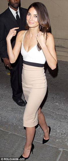 #partywear #streetstyle | Lily Aldridge in a Victoria Beckham tri-color dress styled with Jimmy Choo black pumps